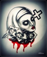bleedning nun with roses tattoo flash by oldSkullLovebyMW