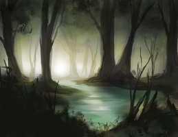 Forest Swamp Digital Painting by jdp89