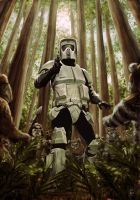 Biker Scout vs Ewoks by Robert-Shane