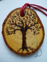 White tree, black tree pendant by sleepyhamsteri