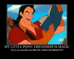 Gaston Reads My Little Pony by LivingShadowDarkMark
