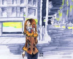 Girl with Cell on the Street by naha-def