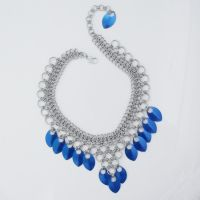 Blue Scale Chain Mail Choker by Gone-Wishing