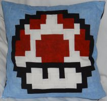 Red Mushroom Pillow by quiltoni