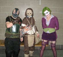 Bane, Scarecrow and female Joker by ArcaneArchery