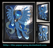 Commission: Luna Raising the Moon Shadowbox by The-Paper-Pony
