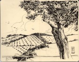 Tuscany landscape on Moleskine by andreuccettiart