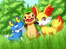 Pokemon - Starters of Gen 6 by Gabbi