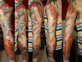 Koi sleeve - WIP by SimplyTattoo