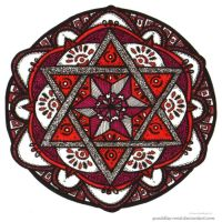 Scarlet Study Mandala by Quaddles-Roost