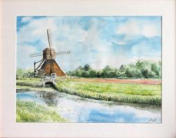 Wind Mill Watercolor Painting by Entar0178