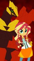 Sunset Shimmer and Pyrus Rubanoid by Pyrus-Leonidas
