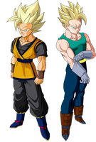 Goken and Nach (Super Saiyans) V1 by OWC478