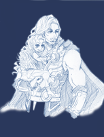 Sketch Commission Thor and Rowen by MistiousStar