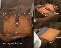 Hard Leather Clockwork Tablet Case by BruteForceStudios