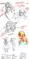 Sketchdump Fyra greek myths by Allysterio