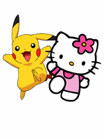 Pikachu and Hello Kitty by Mr-Saxon
