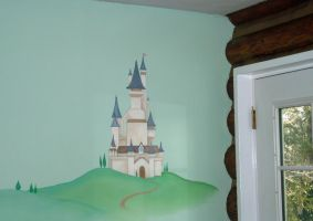 Fairy Tale Castle Mural in Play room by SYoshiko
