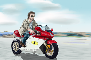 Hugh Lauri on his motorcycle by VKliza