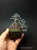 Large cascading ROR wire bonsai tree by Ken To by KenToArt