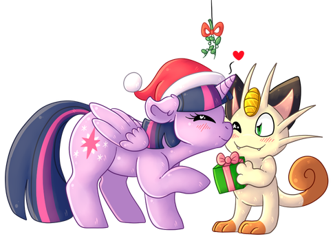 Mistletoe For A Pony And Meowth by Chimcharlover13