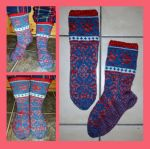 Kool Aid dyed fair-isle Snow Lily socks by KnitLizzy