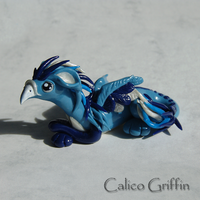 Teardrop - blue griffin - clay sculpture by CalicoGriffin