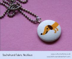 Dachshund Fabric Necklace by Keito-San