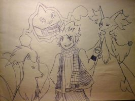 Bad looking Natsu and ugly pokemon by Oni-the-hedgehog