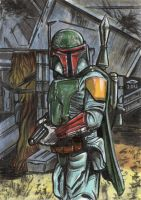 BOBA FETT SKETCH CARD by AHochrein2010