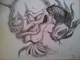 Tattoo Design, Chinese Demon and Coy Fish DRAWING by CassandraWilson