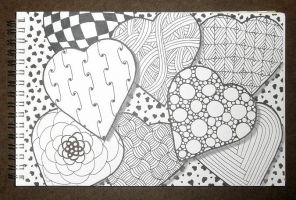 Zentangle Hearts by wonderiffic