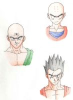 DBZ Characters: Krillin, Tien, and Yamcha by ninetailz3000