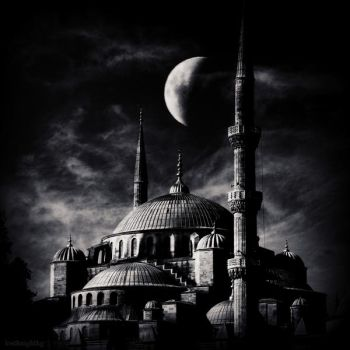 Blue mosque moon by lostknightkg