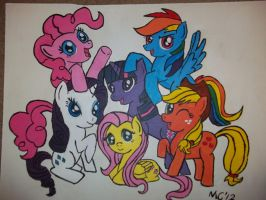 Mane Six in Acryllic by zafara1222