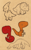 Chibi Dinos by TakShadoWing