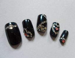 gaga poker face inspired nails by Stefimoose