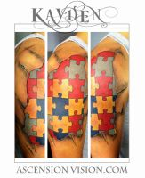 Autism tattoo puzzle piece by kayden7