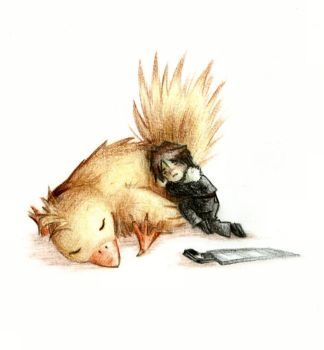 Little Squall and Chocobo by Oriano-Shinkaze