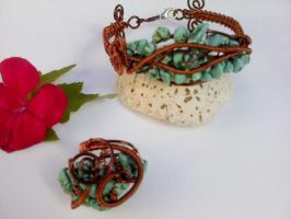 turquoise bracelet and ring by Mirtus63