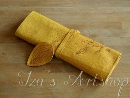 Yellow Leaf Leather Pencil Case by izasartshop