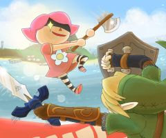 Villager vs Link by scilk