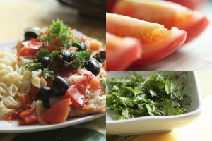 Fish with olives and tomatoes by brunettitude