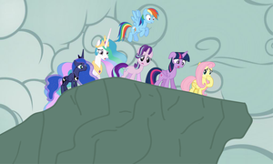 Twilight And The Other Ponies Looking Down A Cliff by Zacharygoblin55
