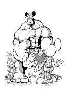Hulk and Mouse inked by gz12wk