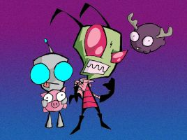 ZIM GIR AND MINIMOOSE by demonkitty21