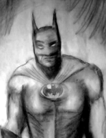 Quick Batman in pencil and charcoal by Jugglingwithfire