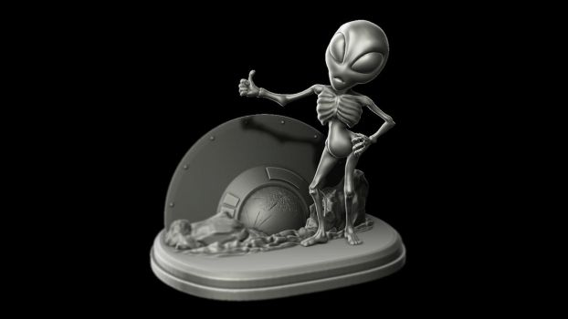 Hitchhiking Alien by LaJolly