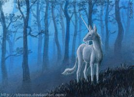 Moonlight Unicorn ACEO by Strecno