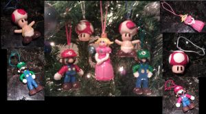 Mario-themed Christmas Ornaments by FallenAngelKrisi